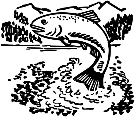 mountain holidays: Jumping Fish Illustration
