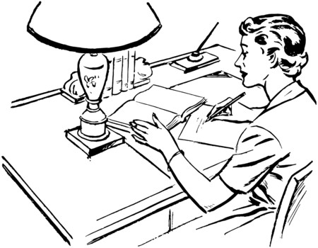 signing: Lady At Desk Writing