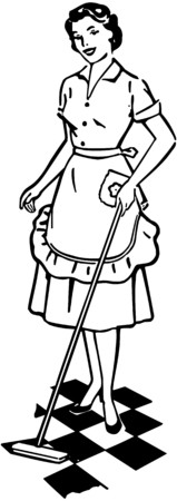 Lady Cleaning Floor Illustration