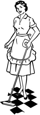 senhora: Lady limpeza do ch Ilustração