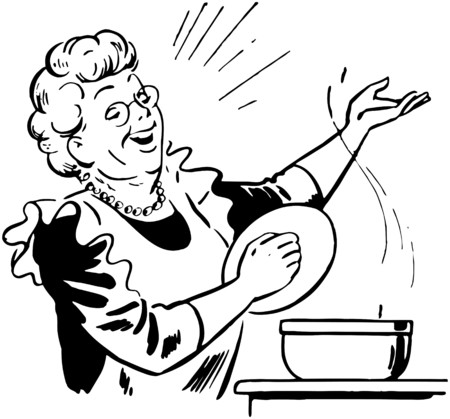 senior lady: Lady Cook With Pot