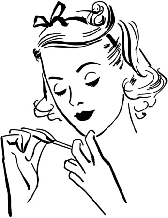 preening: Lady Doing Her Nails Illustration