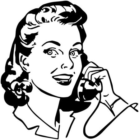電話で女性  イラスト・ベクター素材