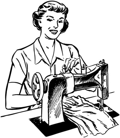 Lady Sewing Illustration