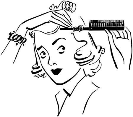 preening: Lady Styling Hair Illustration