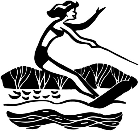 Lady Water Skiing Vector