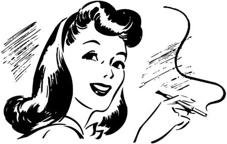 Lady With Cigarette Holder Illustration