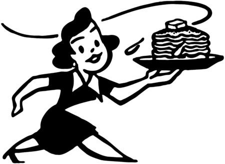 Lady With Hotcakes Illustration