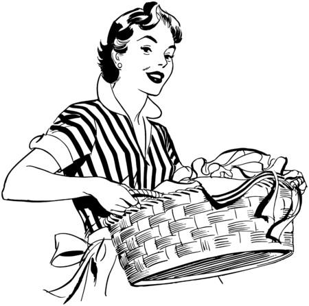 ama de casa: Señora con la cesta de lavadero