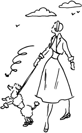 Lady With Poodle Vector