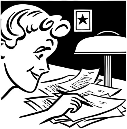 gals: Lady Writing A Letter Illustration