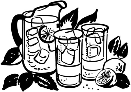 Lemonade Pitcher And Glasses Vector