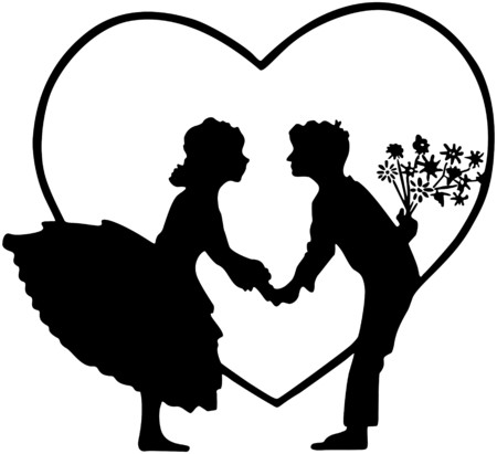 Lovers In Heart Silhouette Vector