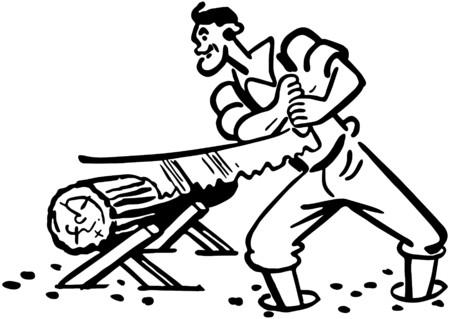 Lumberjack Sawing Log