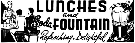 dinners: Lunches And Soda Fountain Illustration