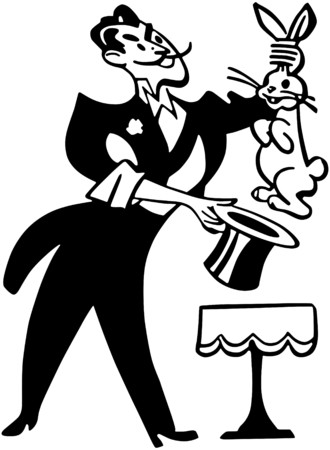 Magician Pulling Rabbit From Hat Vector
