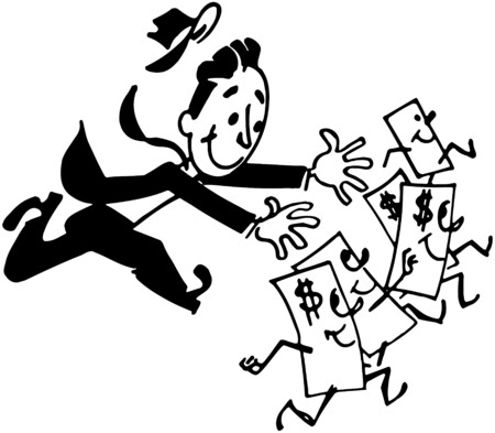 geld: Man Chasing Money Stock Illustratie