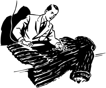 Man Cleaning Fur Coat