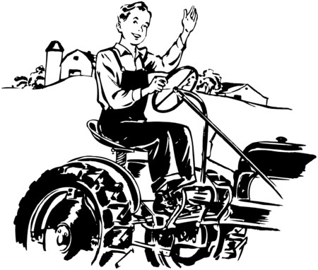 motorists: Man Driving Tractor Illustration