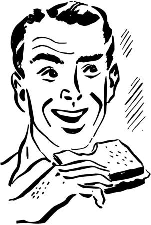 dinners: Man Eating Sandwich