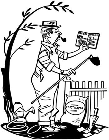 Man Learning Gardening Vector