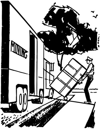 suburbia: Man Loading Moving Van