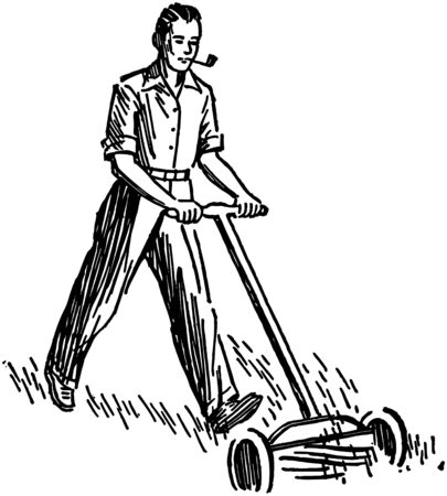 Man Mowing Lawn Vector