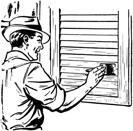 40s: Man Painting Shutters Illustration