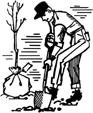 Man Planting Tree Illusztráció