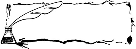 Quill Pen Ink Frame Vector