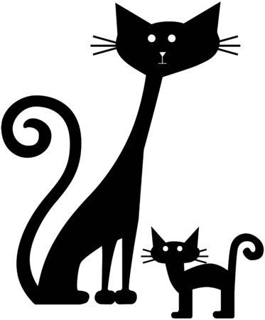 Retro Cats Illustration