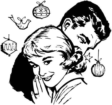 festive occasions: Retro Christmas Couple Illustration