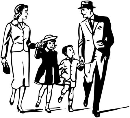 レトロな家族  イラスト・ベクター素材