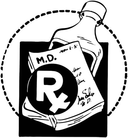 RX Pad With Bottle Of Medicine Vector