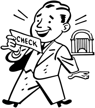 cheques: Man Receiving Check Illustration