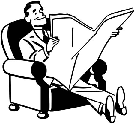 news paper: Man Relaxing With Newspaper Illustration