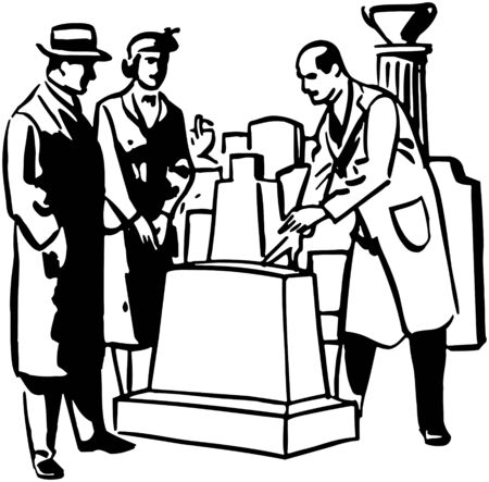 parlours: Man Selling Tombstone Illustration