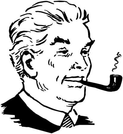 pijp roken: Man pijp roken Stock Illustratie