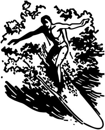 surfers: Man Surfing Illustration