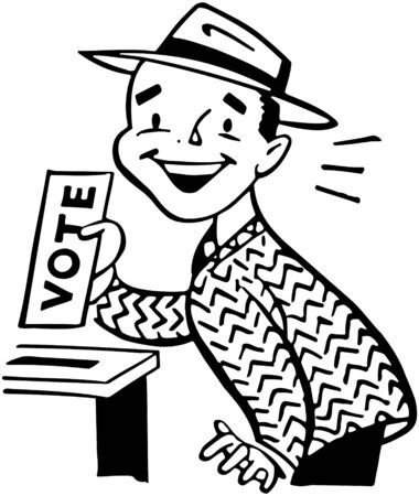 voters: Man Voting Illustration