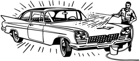 wash: Man Washing Car Illustration