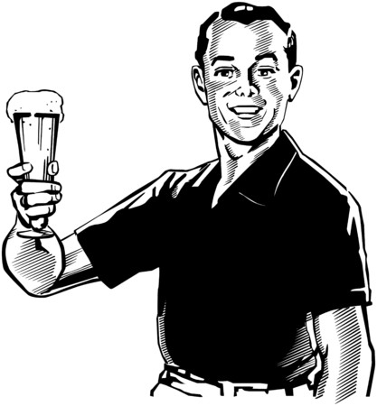 Man With Beer Illustration