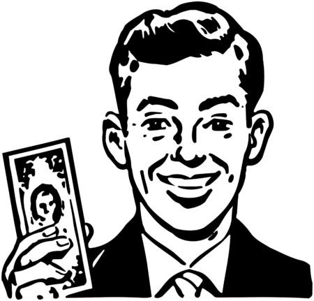 wealthy man: Man With Billion Dollar Bill Illustration