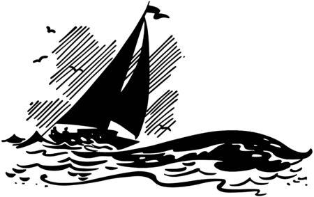 crew: Sailboat On Big Waves Illustration