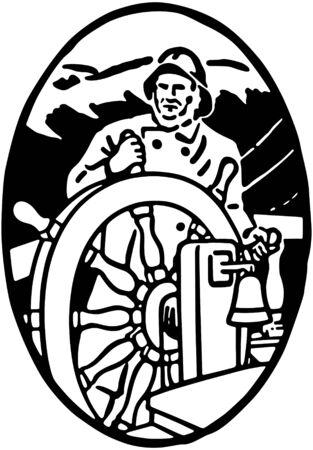 helm boat: Marinero en el timón Vignette Vectores