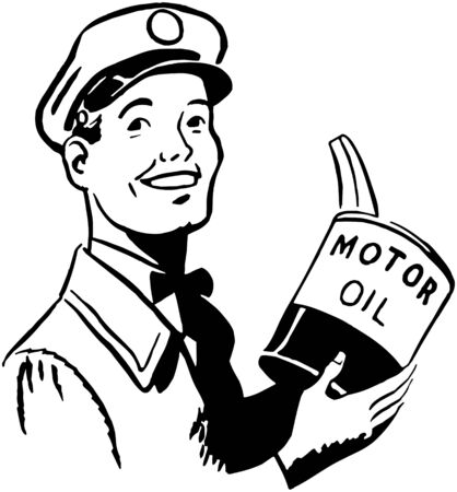 motor oil: Serviceman With Motor Oil