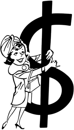 Shopper With Big Dollar Sign Vector