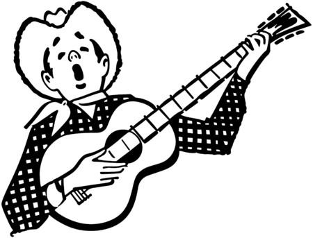 guy playing guitar: Singing Cowboy