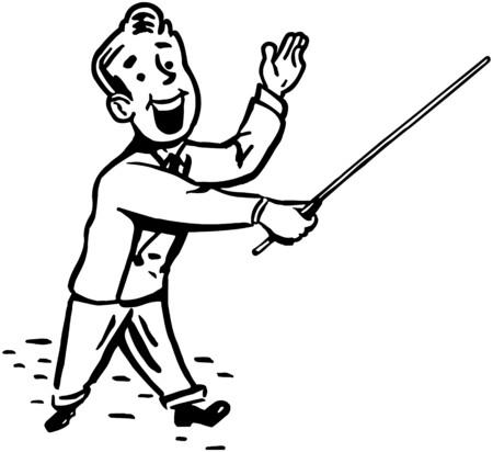 Man With Pointer Stick Stock Illustratie