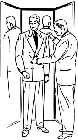 tailored: Man With Three Way Mirror Illustration